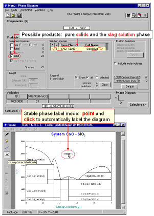 Factsage fig 21 phase diagram module cao sio2 system top components window entry of cao and sio2 bottom variables window selection of tk and xsio2 ccuart Choice Image